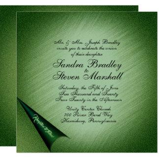 Shimmering Green Wedding Invitation