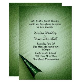 "Shimmering Green Wedding Invitation 5"" x 7"""