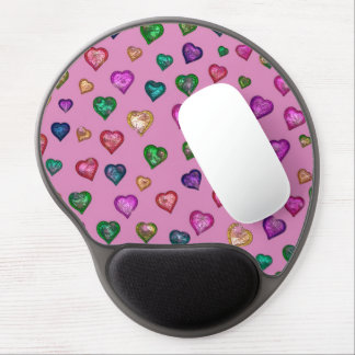 Shimmering hearts gel mouse pad