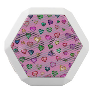 Shimmering hearts white bluetooth speaker