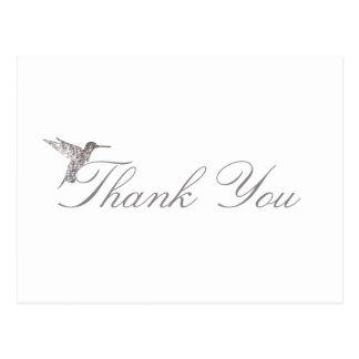 Shimmering Hummingbird Thank You White Postcard