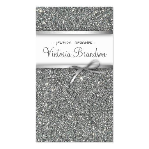 Shimmering Jewelry Designer Damask Silver Card Business Card