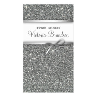 Shimmering Jewelry Designer Damask Silver Card Double-Sided Standard Business Cards (Pack Of 100)