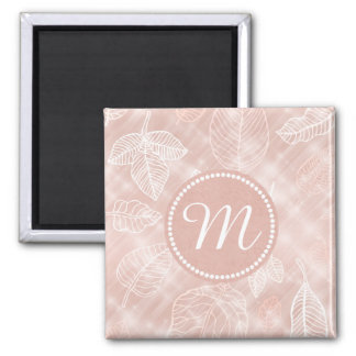 Shimmering Leaves Outline Rose Gold ID288 Magnet