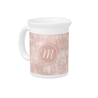 Shimmering Leaves Outline Rose Gold ID288 Pitchers