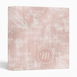 Shimmering Leaves Outline Rose Gold Monogram ID288 3 Ring Binder