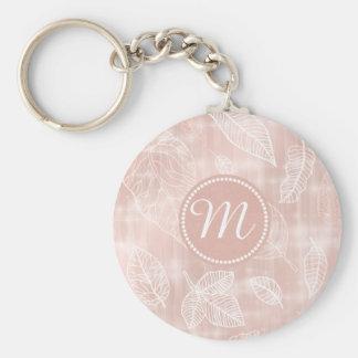 Shimmering Leaves Outline Rose Gold Monogram ID288 Keychain