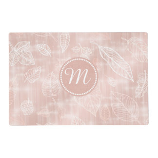 Shimmering Leaves Outline Rose Gold Monogram ID288 Placemat
