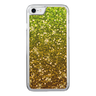 Shimmering Light Green Gold Glitters Carved iPhone 7 Case
