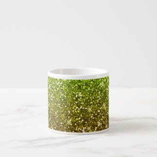Shimmering Light Green Gold Glitters Espresso Cup