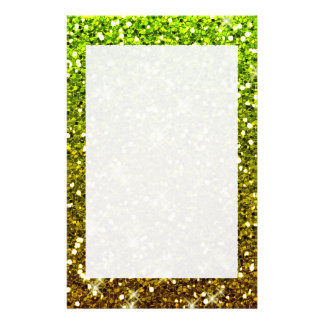 Shimmering Light Green Gold Glitters Stationery