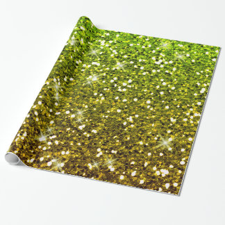 Shimmering Light Green Gold Glitters Wrapping Paper