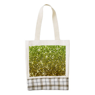 Shimmering Light Green Gold Glitters Zazzle HEART Tote Bag