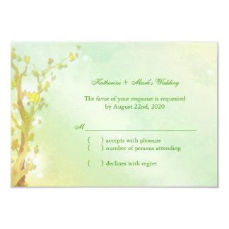 Shimmering Light Green Tree Wedding RSVP Card