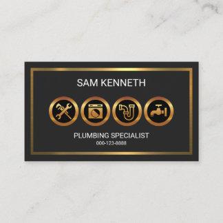 Shimmering Luminous Gold Borders Plumber Business Card