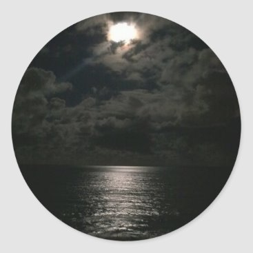 Beach Themed Shimmering Moon Light Reflecting On The Ocean Classic Round Sticker