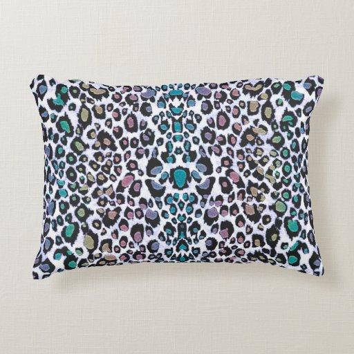 Shimmering Multicolored Leopard Print Decorative Pillow Zazzle