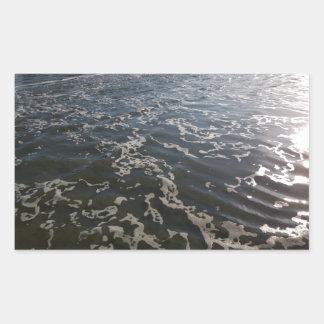 Shimmering Ocean Water with Sea Foam Rectangular Sticker