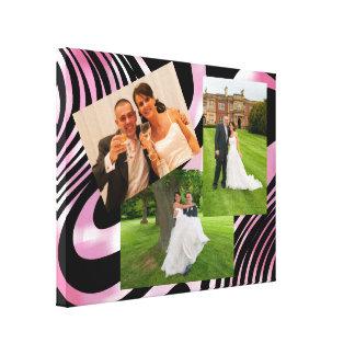 Shimmering Pink & Black Swirls Photo Display Canvas Print