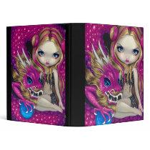 Shimmering Pink Dragon BINDER fairy fantasy