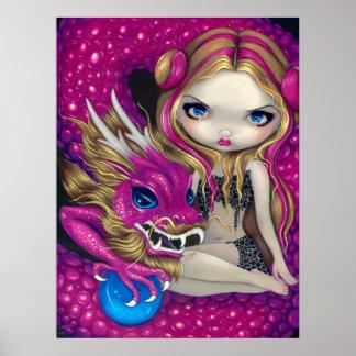 Shimmering Pink Dragon fantasy fairy Art Print
