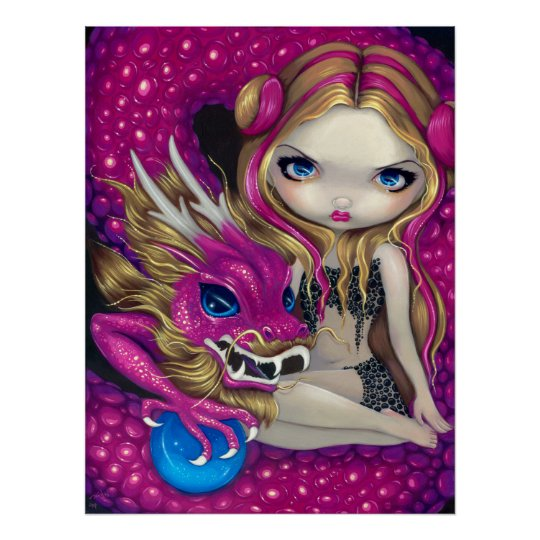 Jasmine Becket-Griffith art BIG print SIGNED Shimmering Pink Dragon fairy asian