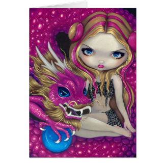 """Shimmering Pink Dragon"" Greeting Card"