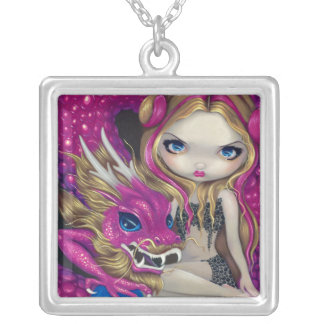 Shimmering Pink Dragon NECKLACE fairy fantasy