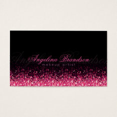 Shimmering Pink Makeup Artist Damask Black Card at Zazzle