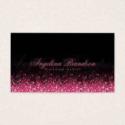Shimmering Pink Makeup Artist Damask Black Card