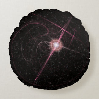 Shimmering Pink Star Burst Round Pillow