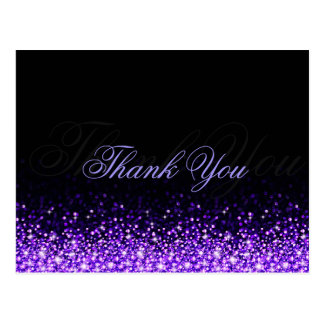 Shimmering Purple Glitter Black Thank You Postcard