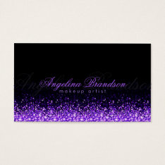 Shimmering Purple Makeup Artist Damask Black Card at Zazzle