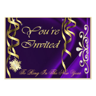 Shimmering Purple Soiree New Years Eve Invitation
