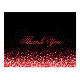Shimmering Red Glitter Black Thank You Postcard