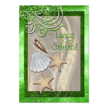 Beach Themed Shimmering Seashell Lime Beach Wedding Invitation
