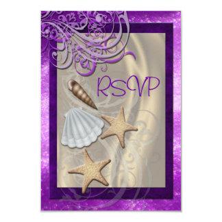 Shimmering Seashell Plum Beach Rsvp Invitation