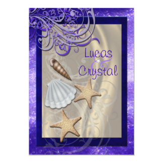 Shimmering Seashell Purple Beach Wedding 5x7 Paper Invitation Card