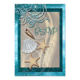 "Shimmering Seashell Teal Beach Rsvp Invitation 3.5"" X 5"" Invitation Card"