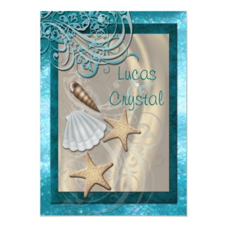 "Shimmering Seashell Teal Beach Wedding Invitation 5"" X 7"" Invitation Card"