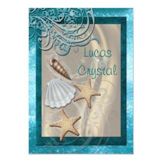 "Shimmering Seashell Teal Beach Wedding Invitation 5"" X 7"" Invitation Card"