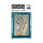 Shimmering Seashell Teal Save The Date Postage