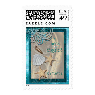 Shimmering Seashell Teal Save The Date Postage Stamps
