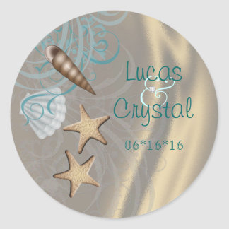 Shimmering Seashell Teal Save The Date Sticker