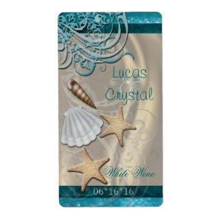 Shimmering Seashell Teal Wedding Wine Label