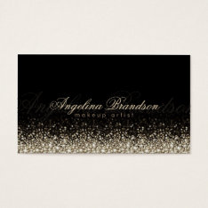 Shimmering Silver Makeup Artist Damask Black Card at Zazzle