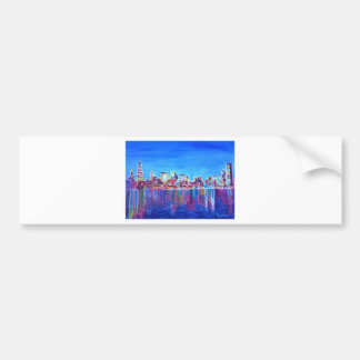 Shimmering Skyline Of Chicago Skyline At Night Bumper Sticker