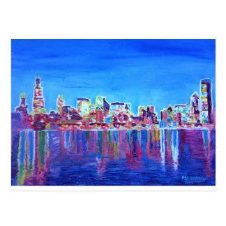 Shimmering Skyline Of Chicago Skyline At Night Postcard