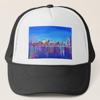 Shimmering Skyline Of Chicago Skyline At Night Trucker Hat