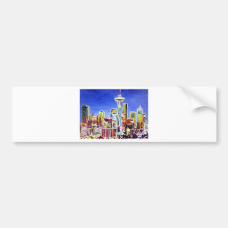 Shimmering Skyline Of Seattle With Space Needle Bumper Sticker